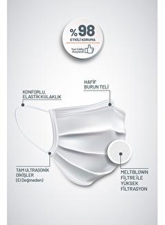 Vhealmed VHEALMED Tek Kullanımlık 3 Katlı Medikal Maske 50 Adet Beyaz Elastik Kulaklıklı Meltblownlu TİPIIR